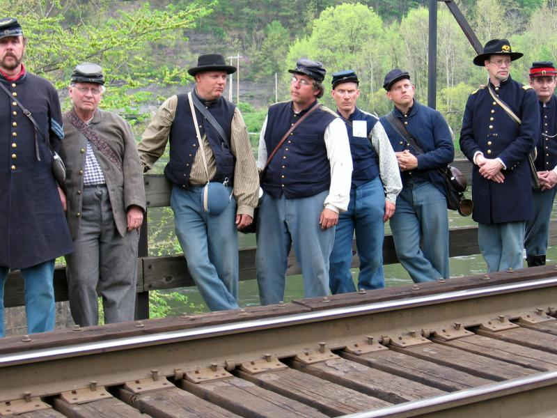 Troops at Cheat River Bridge where the attack occurred in 1863